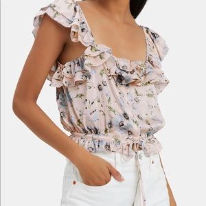 LoveShackFancy Mia Floral cropped top XS